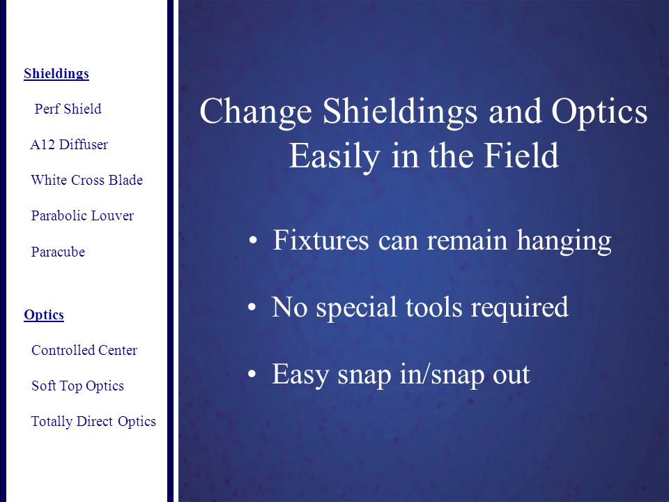 Change Shieldings and Optics Easily in the Field Fixtures can remain hanging No special tools required Easy snap in/snap out Shieldings Perf Shield A12 Diffuser White Cross Blade Parabolic Louver Paracube Optics Controlled Center Soft Top Optics Totally Direct Optics