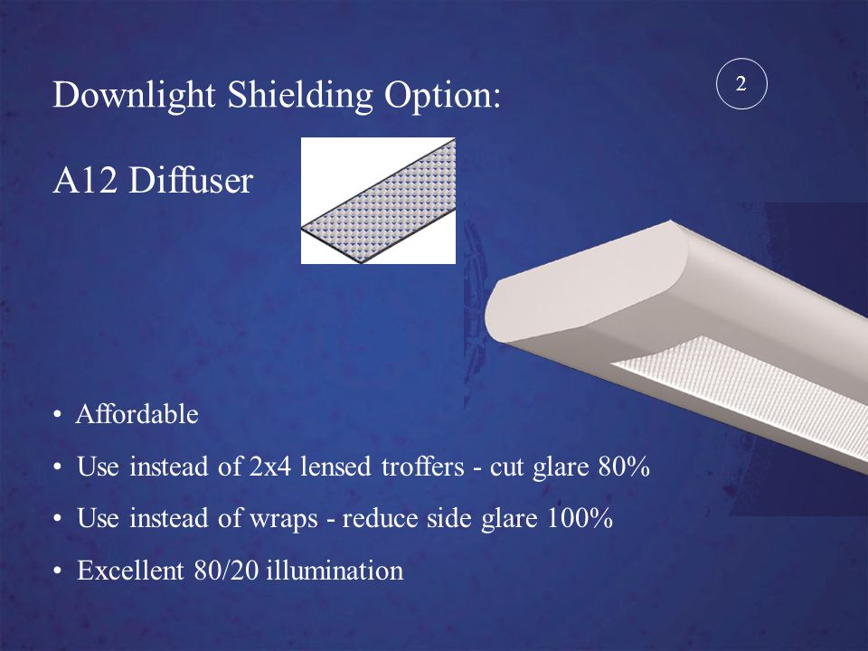 Downlight Shielding Option: White Cross Blade Baffle Use in educational settings Provides desirable highlighting Excellent general purpose 3