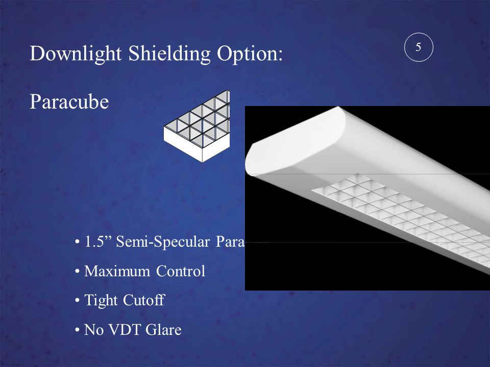 Downlight Shielding Option: Paracube 1.5 Semi-Specular Paracube Maximum Control Tight Cutoff No VDT Glare 5
