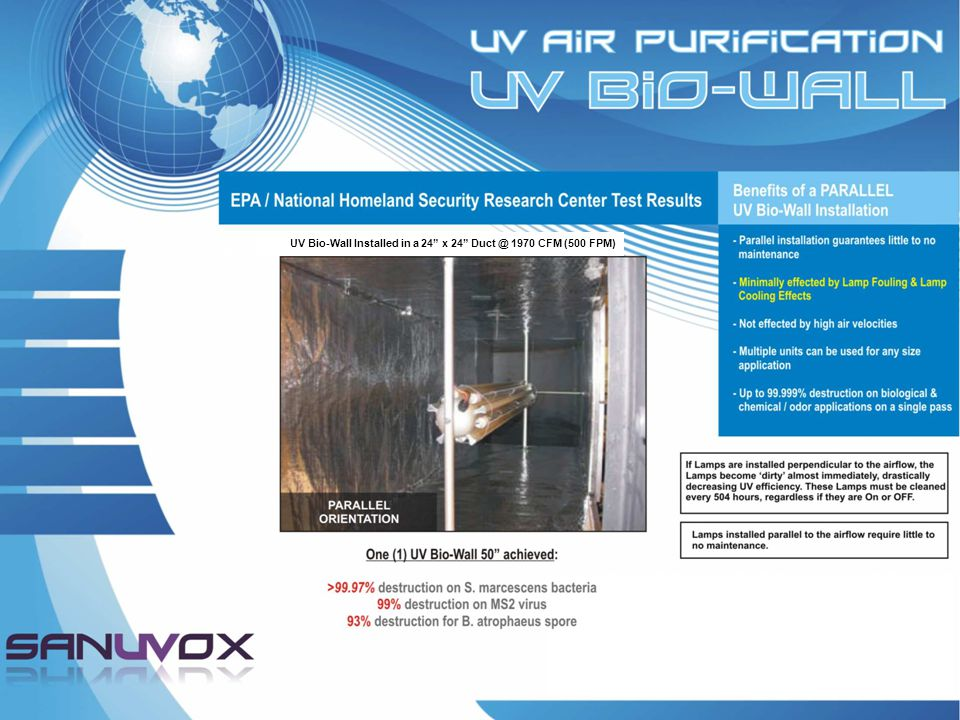UV Bio-Wall Installed in a 24 x 24 Duct @ 1970 CFM (500 FPM)