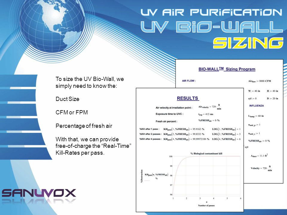 To size the UV Bio-Wall, we simply need to know the: Duct Size CFM or FPM Percentage of fresh air With that, we can provide free-of-charge the Real-Time Kill-Rates per pass.