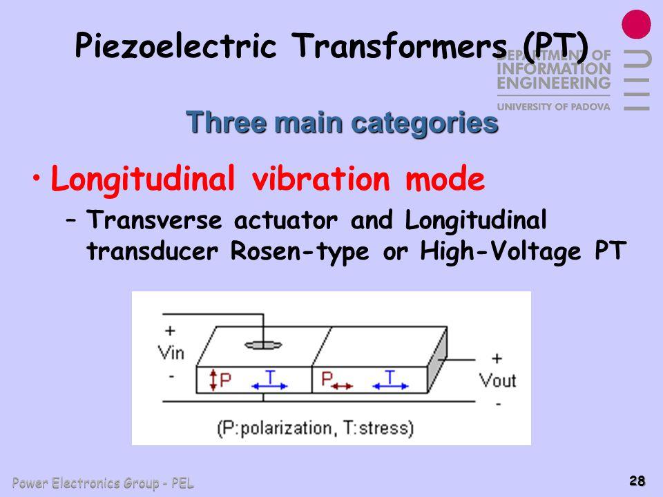 Power Electronics Group - PEL 28 Piezoelectric Transformers (PT) Longitudinal vibration mode –Transverse actuator and Longitudinal transducer Rosen-ty