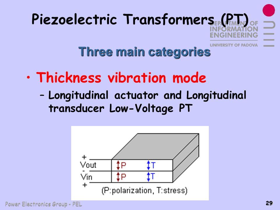 Power Electronics Group - PEL 29 Piezoelectric Transformers (PT) Thickness vibration mode –Longitudinal actuator and Longitudinal transducer Low-Volta