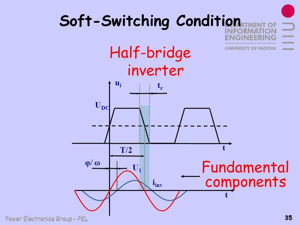 Power Electronics Group - PEL 35 Soft-Switching Condition T/2 trtr t uiui U DC t / i inv U1U1 Fundamental components Half-bridge inverter