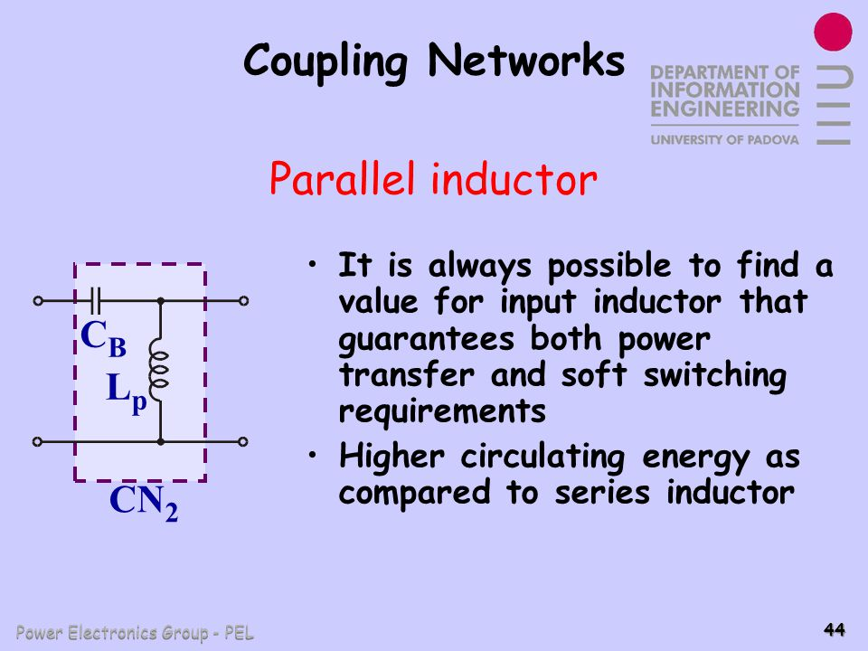 Power Electronics Group - PEL 44 Coupling Networks It is always possible to find a value for input inductor that guarantees both power transfer and so
