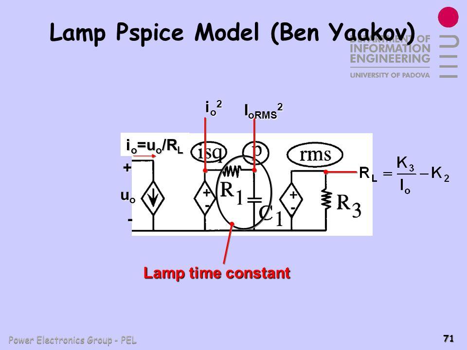 Power Electronics Group - PEL 71 Lamp Pspice Model (Ben Yaakov) uouououo Lamp time constant + - io2io2io2io2 I oRMS 2 i o =u o /R L
