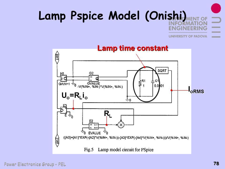 Power Electronics Group - PEL 78 Lamp Pspice Model (Onishi) I oRMS RLRLRLRL U o =R L i o Lamp time constant