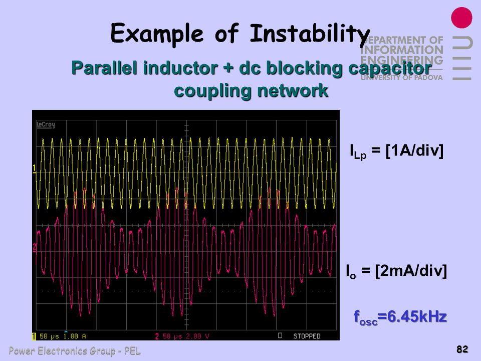 Power Electronics Group - PEL 82 Example of Instability I Lp = [1A/div] I o = [2mA/div] f osc =6.45kHz Parallel inductor + dc blocking capacitor coupl