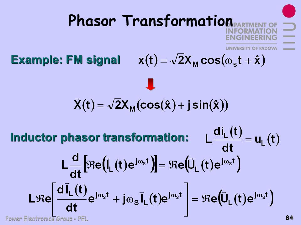 Power Electronics Group - PEL 84 Phasor Transformation Example: FM signal Inductor phasor transformation: