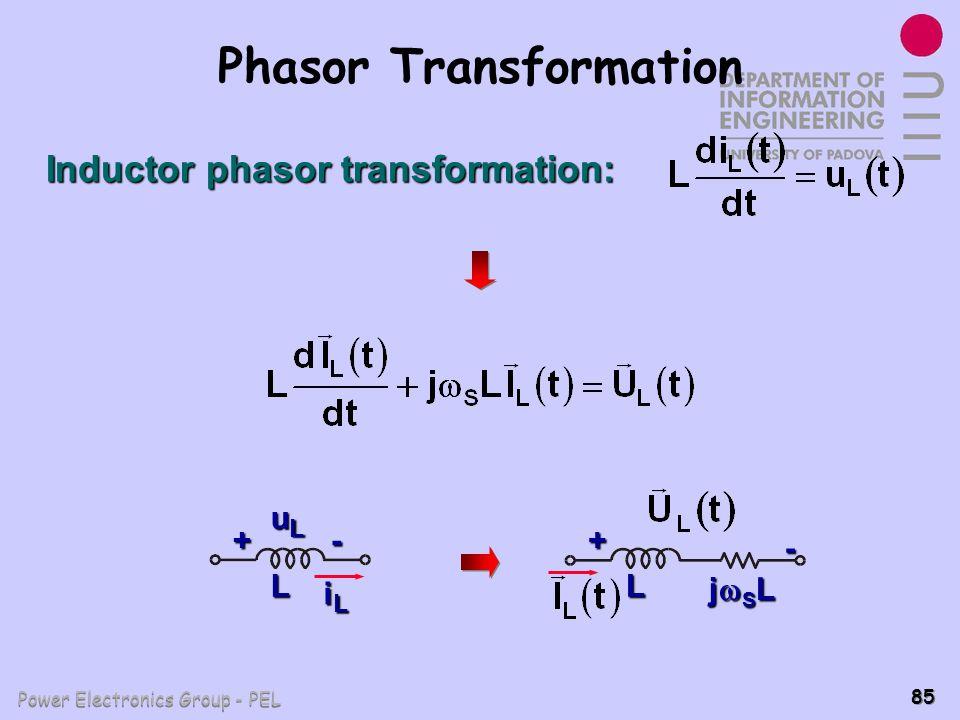 Power Electronics Group - PEL 85 Phasor Transformation Inductor phasor transformation: + L iLiLiLiL - uLuLuLuL + L - j S L