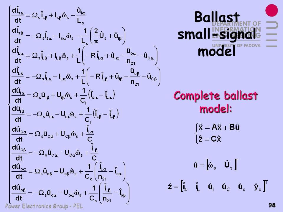 Power Electronics Group - PEL 98 Ballast small-signal model Complete ballast model: