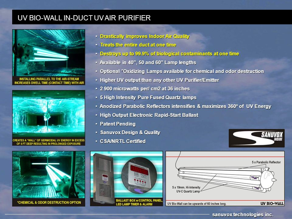 Example: For a 94% kill in a 36 x 36 duct, with the air moving @ 700 FPM.