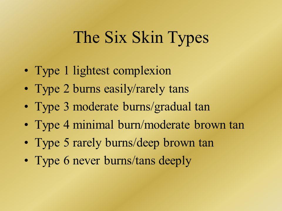 The Six Skin Types Type 1 lightest complexion Type 2 burns easily/rarely tans Type 3 moderate burns/gradual tan Type 4 minimal burn/moderate brown tan