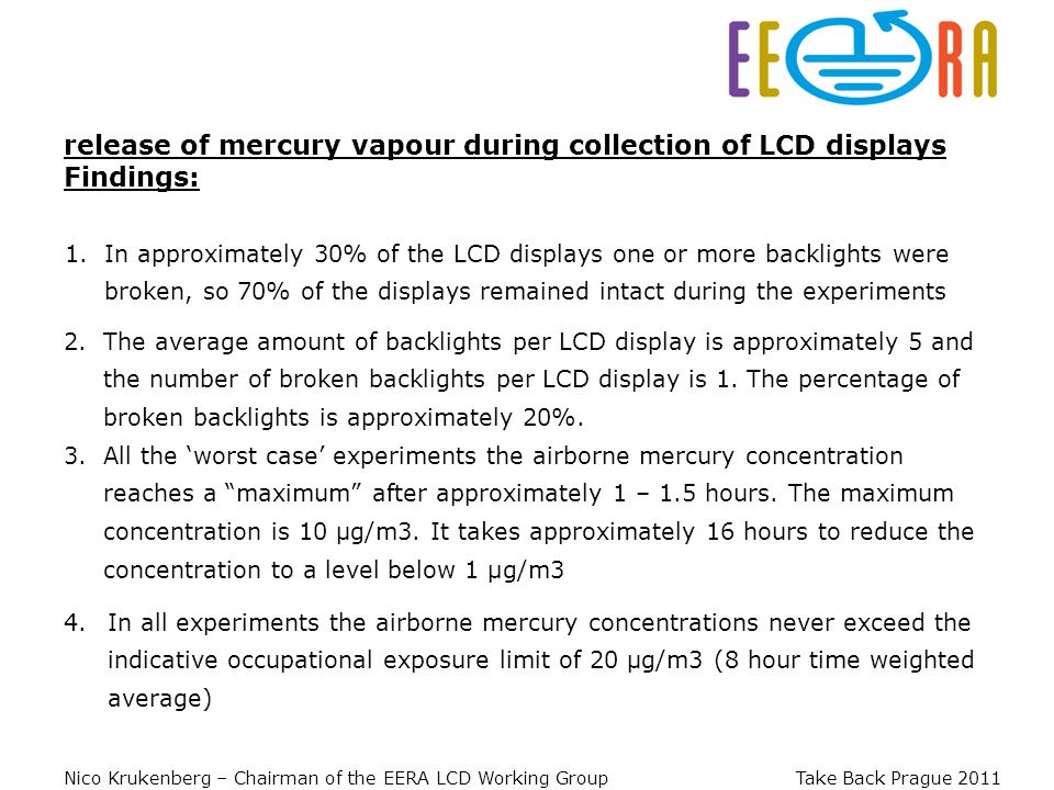Nico Krukenberg – Chairman of the EERA LCD Working Group Take Back Prague 2011 1.In approximately 30% of the LCD displays one or more backlights were broken, so 70% of the displays remained intact during the experiments release of mercury vapour during collection of LCD displays Findings: 2.The average amount of backlights per LCD display is approximately 5 and the number of broken backlights per LCD display is 1.