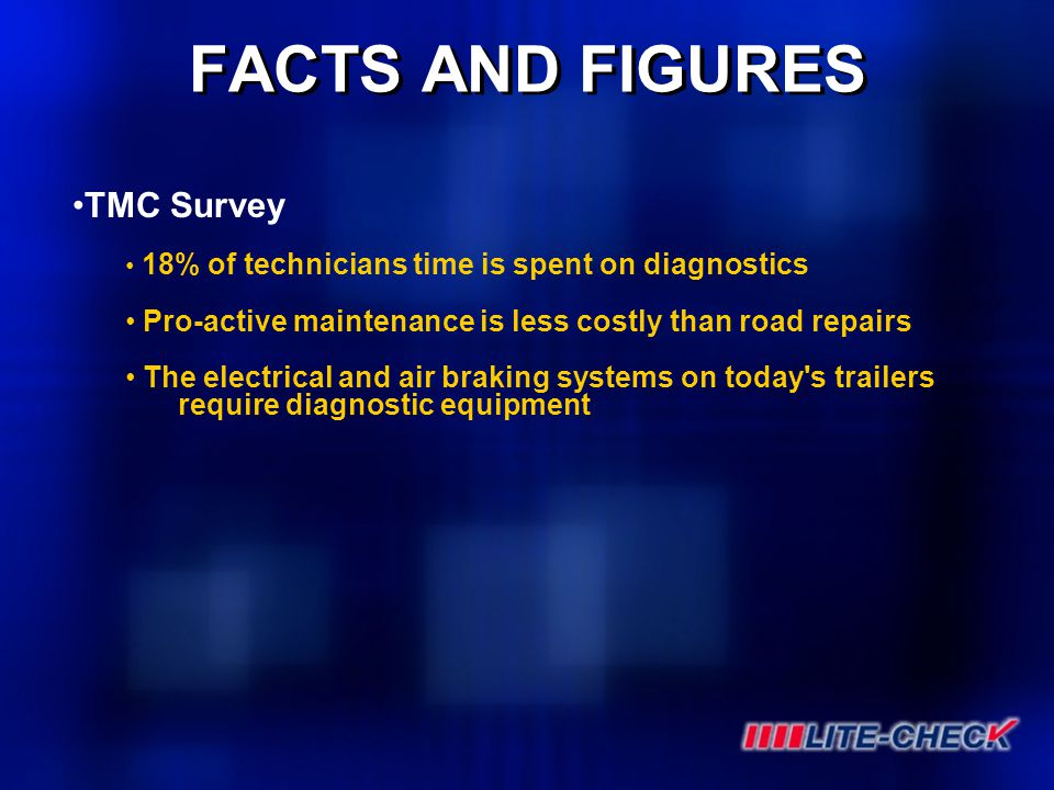 FACTS AND FIGURES TMC Survey 18% of technicians time is spent on diagnostics Pro-active maintenance is less costly than road repairs The electrical an