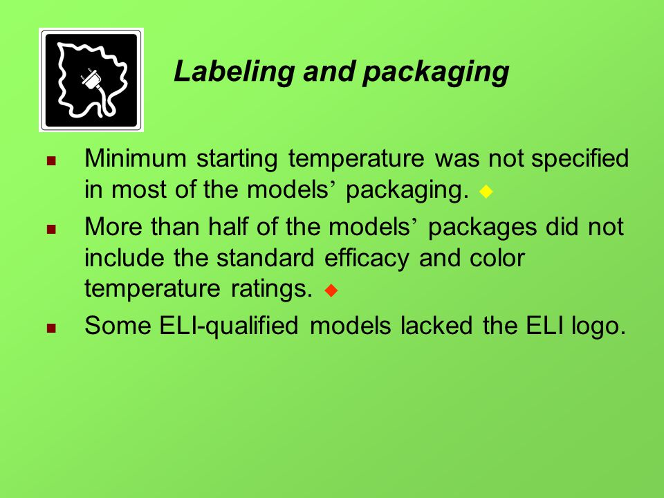 Labeling and packaging Minimum starting temperature was not specified in most of the models packaging.