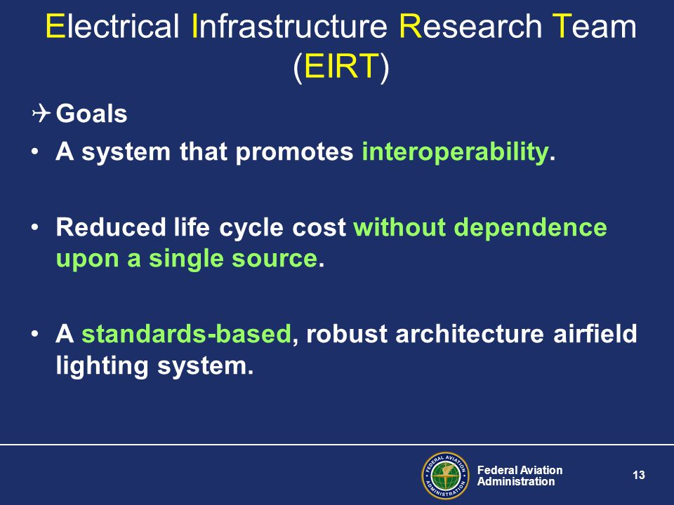 Federal Aviation Administration 13 Electrical Infrastructure Research Team (EIRT) Goals A system that promotes interoperability.