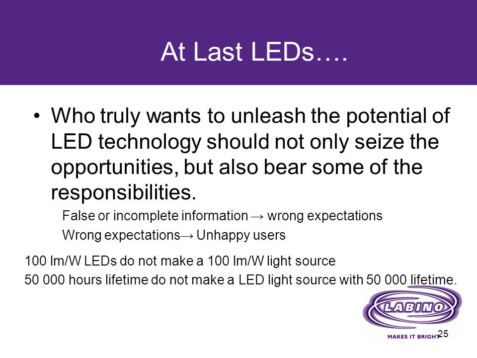Who truly wants to unleash the potential of LED technology should not only seize the opportunities, but also bear some of the responsibilities. False