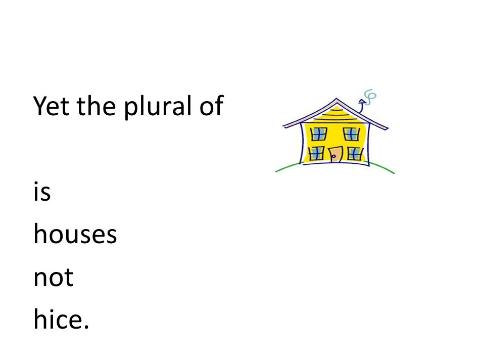 Yet the plural of is houses not hice.