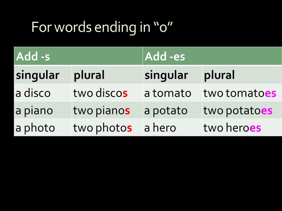 For words ending in o Add -sAdd -es singularpluralsingularplural a discotwo discosa tomatotwo tomatoes a pianotwo pianosa potatotwo potatoes a phototw