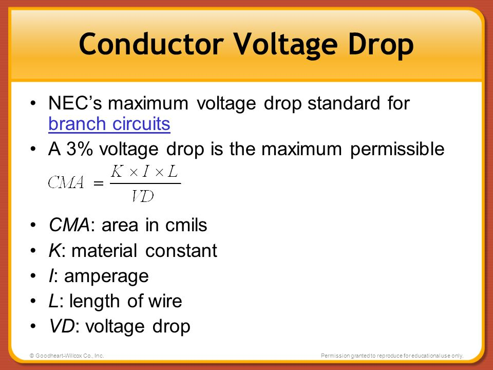 © Goodheart-Willcox Co., Inc.Permission granted to reproduce for educational use only. Conductor Voltage Drop NECs maximum voltage drop standard for b