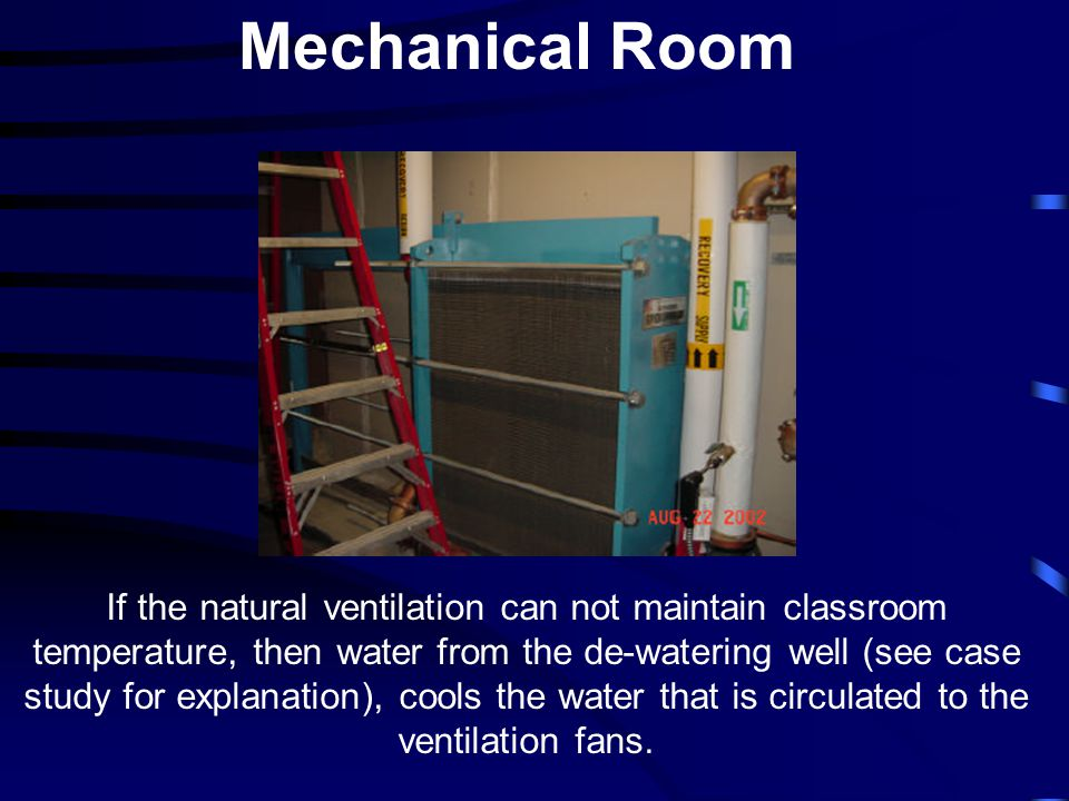 Mechanical Room If the natural ventilation can not maintain classroom temperature, then water from the de-watering well (see case study for explanatio