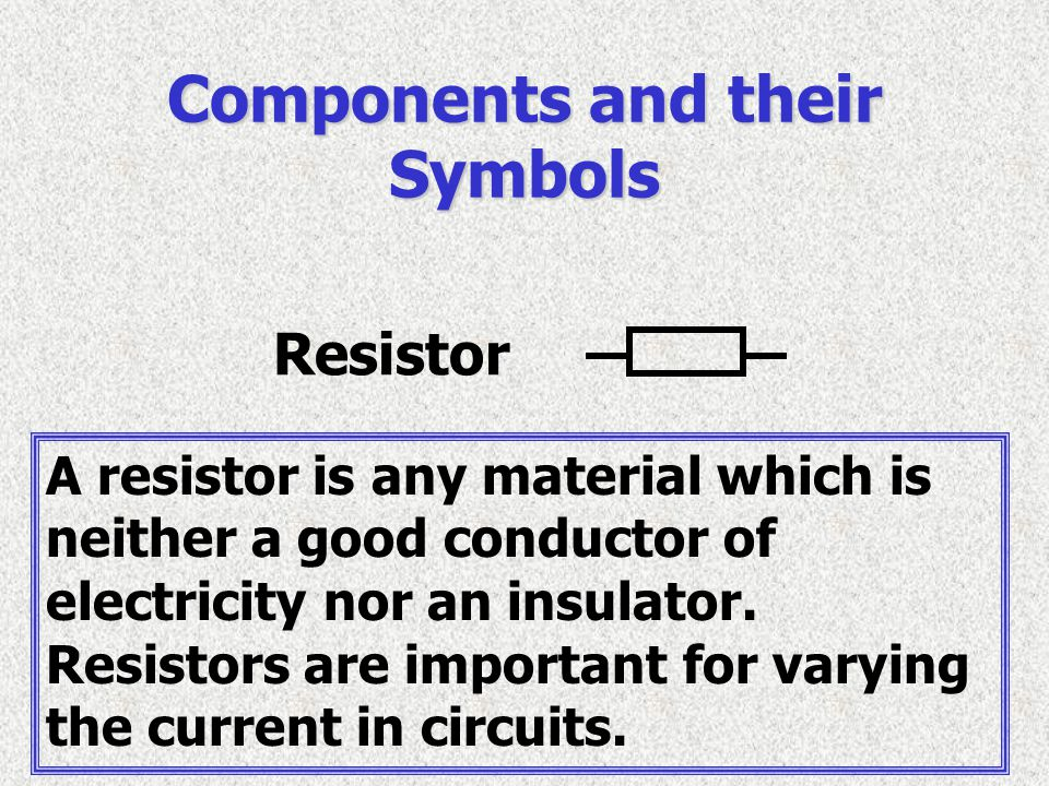 Resistor Components and their Symbols A resistor is any material which is neither a good conductor of electricity nor an insulator. Resistors are impo