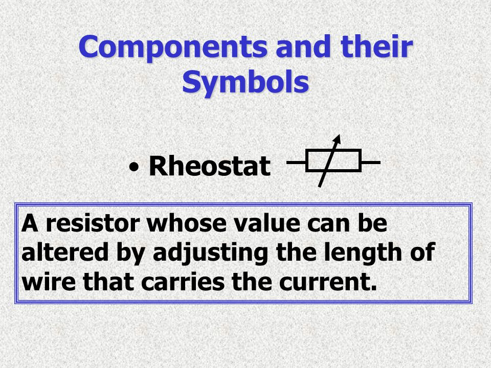 Components and their Symbols A resistor whose value can be altered by adjusting the length of wire that carries the current. Rheostat