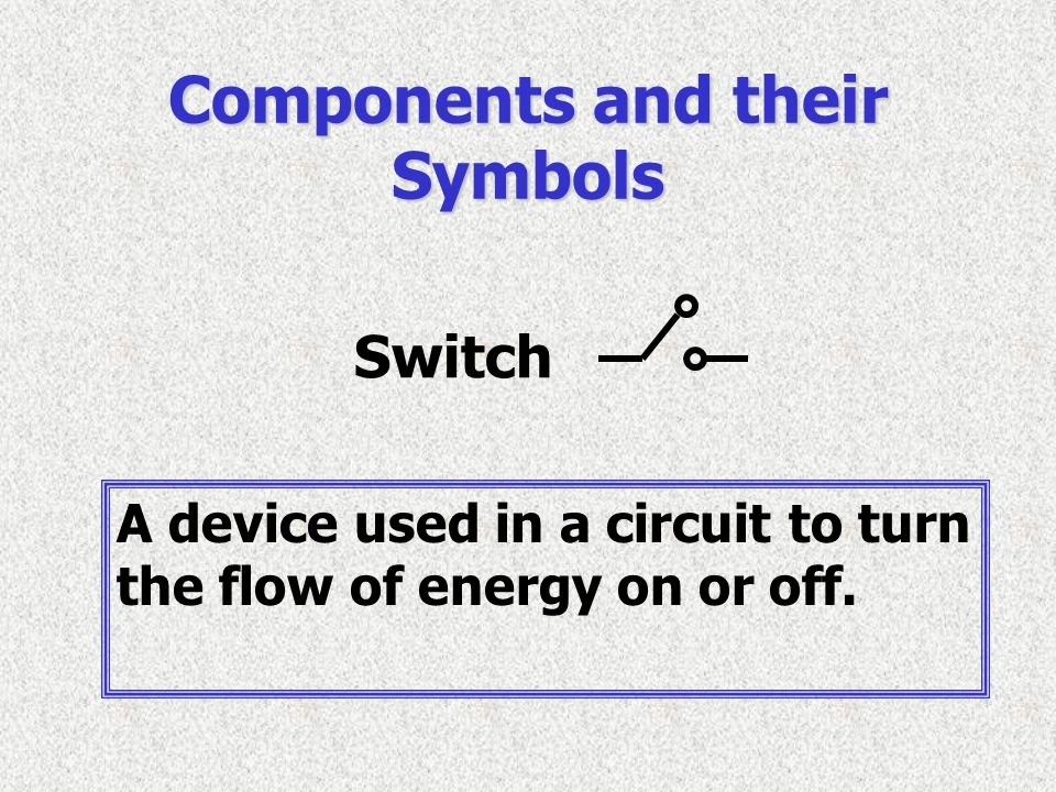 Switch Components and their Symbols A device used in a circuit to turn the flow of energy on or off.