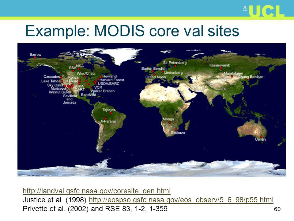 60 Example: MODIS core val sites http://landval.gsfc.nasa.gov/coresite_gen.html Justice et al. (1998) http://eospso.gsfc.nasa.gov/eos_observ/5_6_98/p5