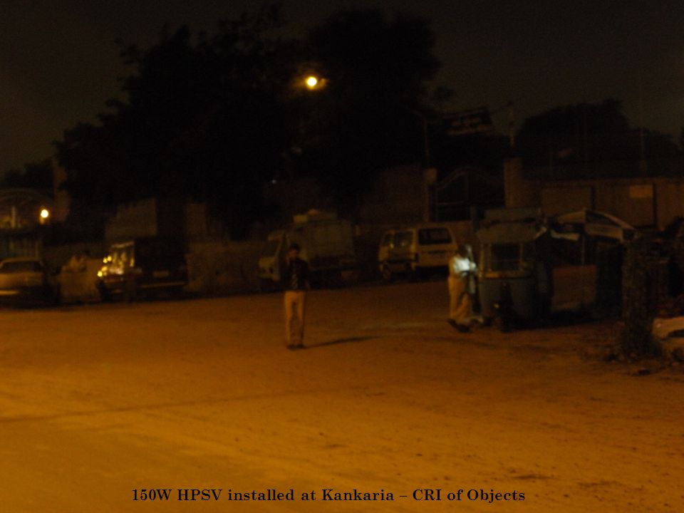 150W HPSV installed at Kankaria – CRI of Objects