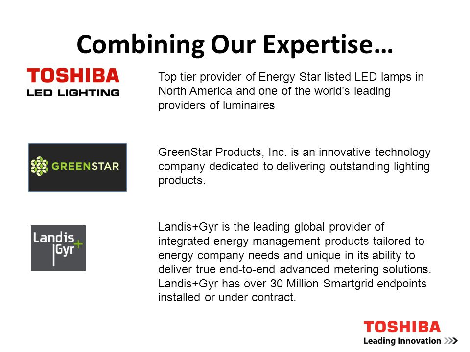 Combining Our Expertise… Top tier provider of Energy Star listed LED lamps in North America and one of the worlds leading providers of luminaires GreenStar Products, Inc.