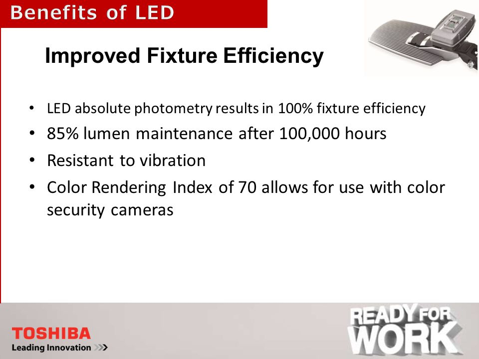 LED absolute photometry results in 100% fixture efficiency 85% lumen maintenance after 100,000 hours Resistant to vibration Color Rendering Index of 70 allows for use with color security cameras Improved Fixture Efficiency