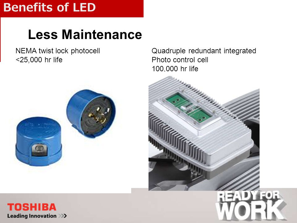 Benefits of LED Quadruple redundant integrated Photo control cell 100,000 hr life Less Maintenance NEMA twist lock photocell <25,000 hr life