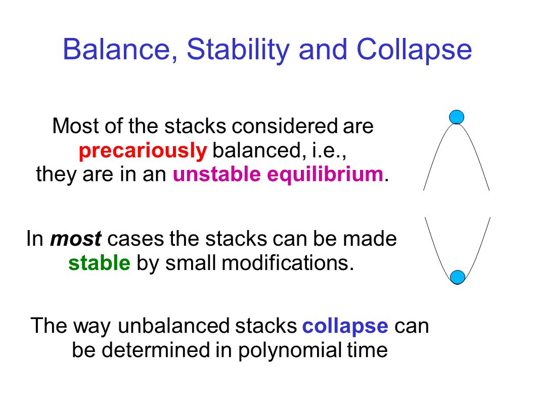 Balance, Stability and Collapse Most of the stacks considered are precariously balanced, i.e., they are in an unstable equilibrium.