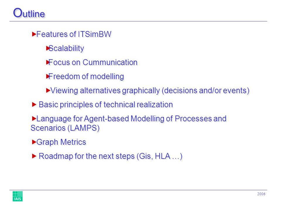 2006 Features of ITSimBW Scalability Focus on Cummunication Freedom of modelling Viewing alternatives graphically (decisions and/or events) Basic principles of technical realization Language for Agent-based Modelling of Processes and Scenarios (LAMPS) Graph Metrics Roadmap for the next steps (Gis, HLA …) Features of ITSimBW Scalability Focus on Cummunication Freedom of modelling Viewing alternatives graphically (decisions and/or events) Basic principles of technical realization Language for Agent-based Modelling of Processes and Scenarios (LAMPS) Graph Metrics Roadmap for the next steps (Gis, HLA …) O utline