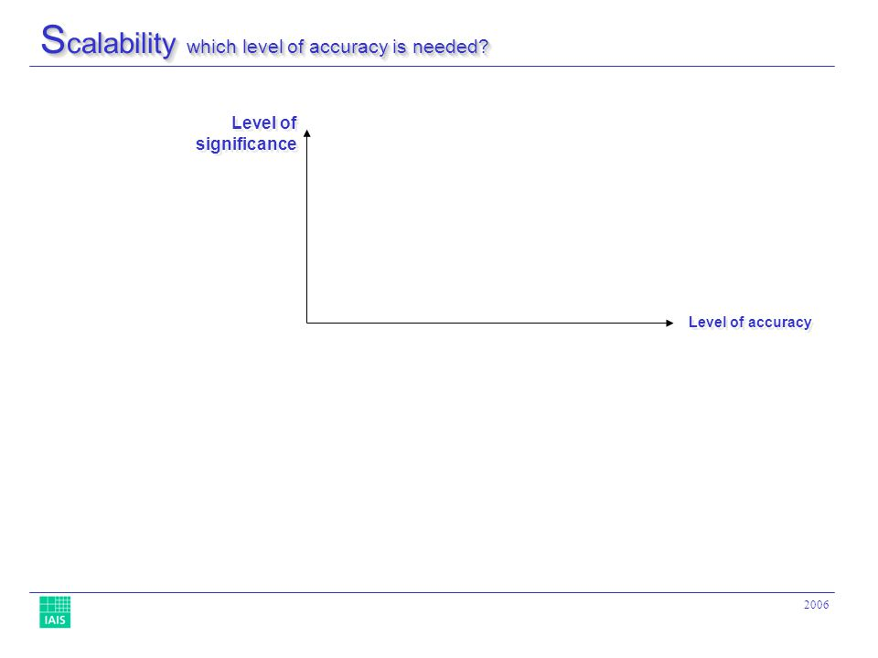 2006 S calability which level of accuracy is needed Level of accuracy Level of significance