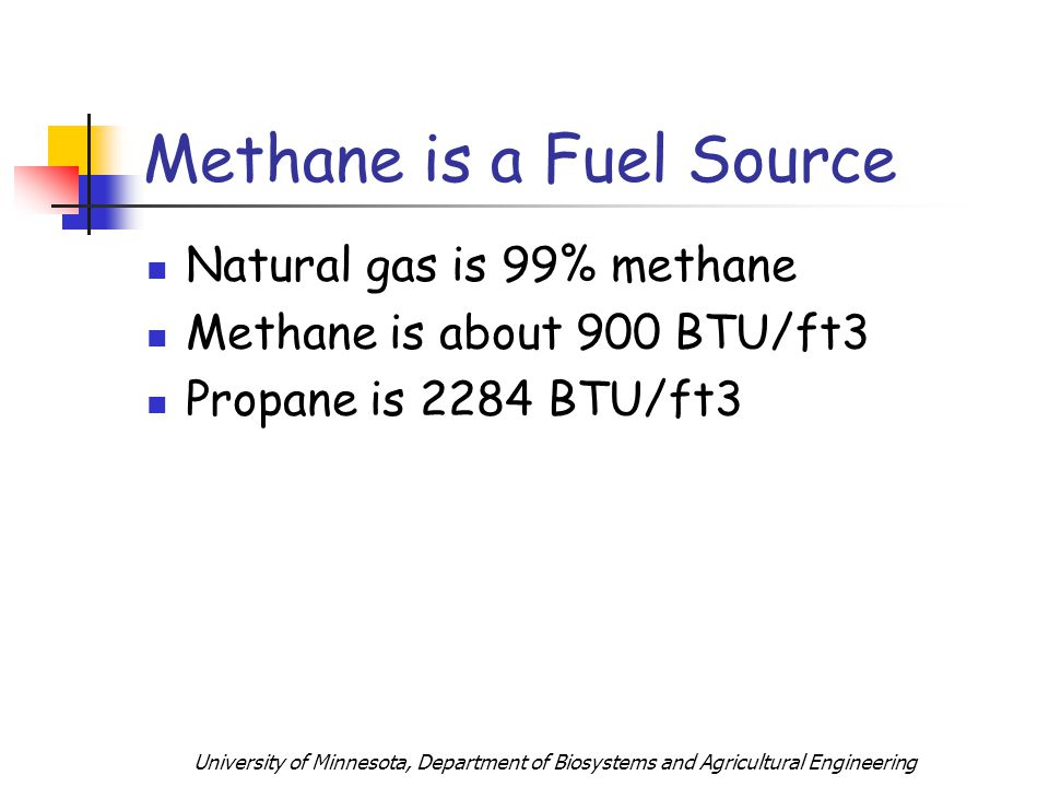 University of Minnesota, Department of Biosystems and Agricultural Engineering Methane is a Fuel Source Natural gas is 99% methane Methane is about 900 BTU/ft3 Propane is 2284 BTU/ft3