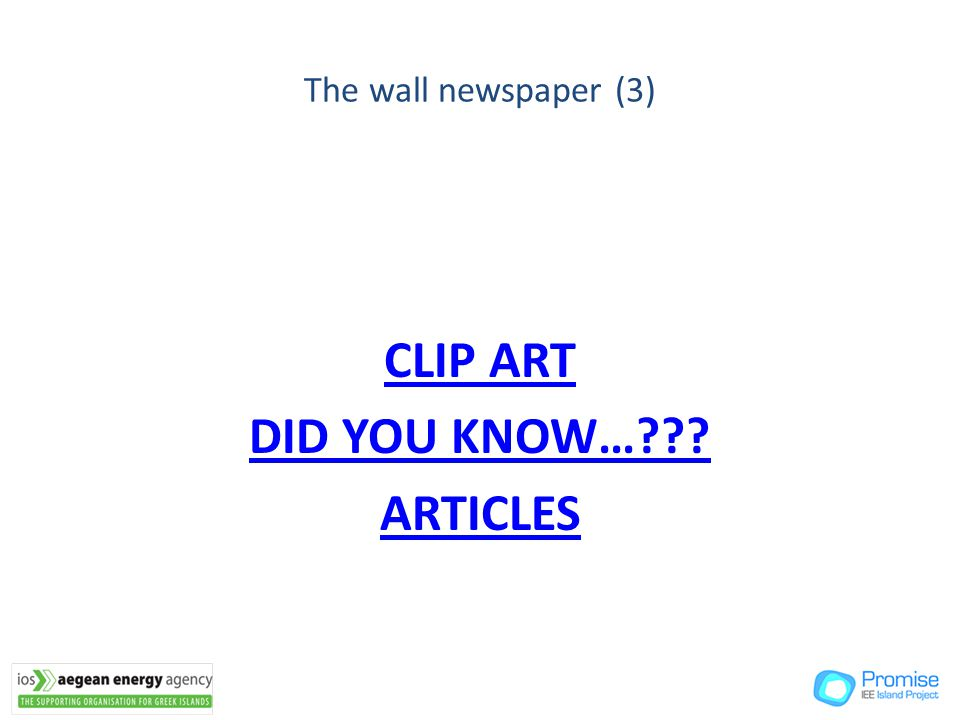 The wall newspaper (3) CLIP ART DID YOU KNOW…??? ARTICLES