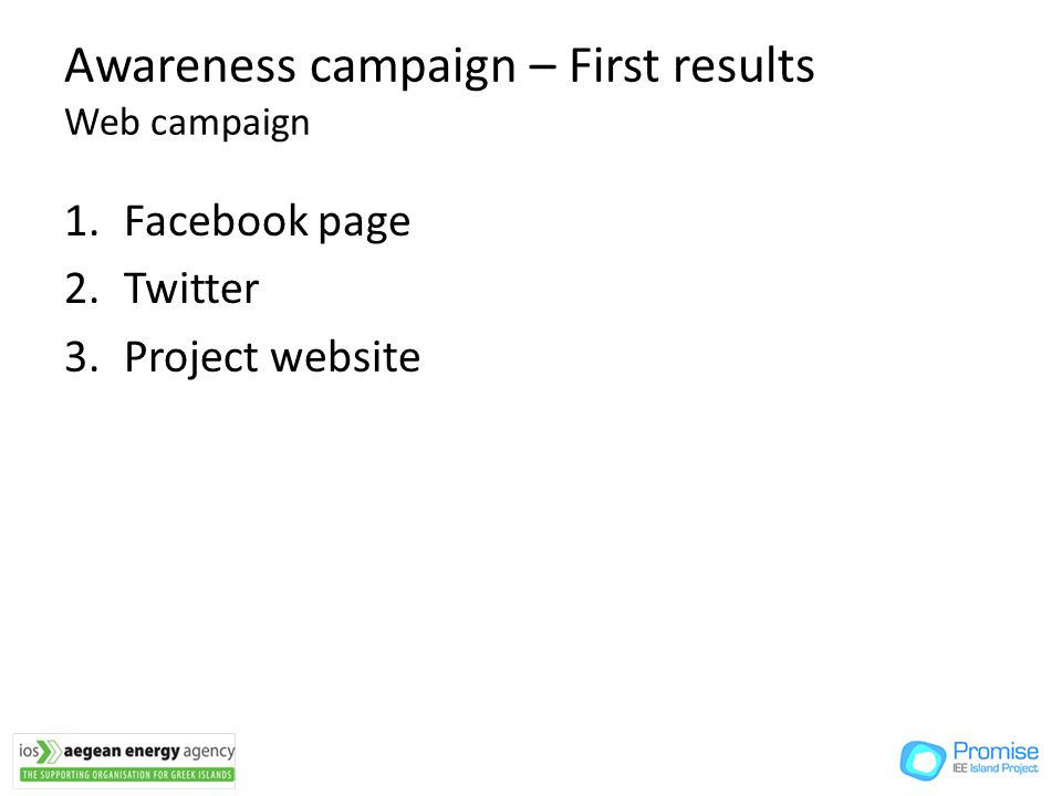 Awareness campaign – First results Web campaign 1.Facebook page 2.Twitter 3.Project website