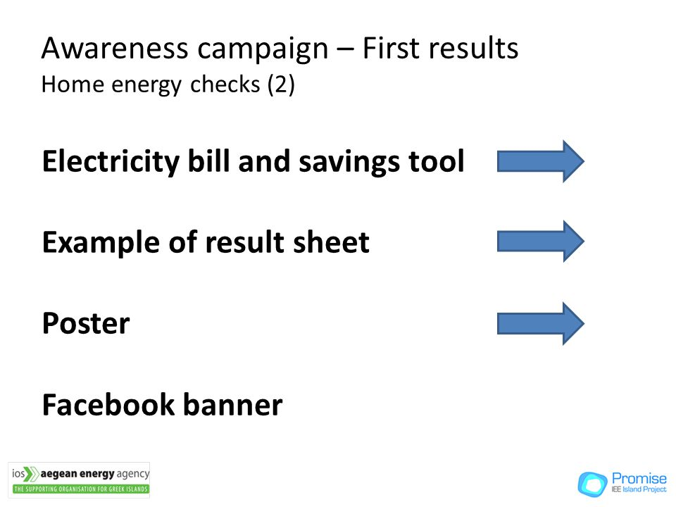 Awareness campaign – First results Home energy checks (2) Electricity bill and savings tool Example of result sheet Poster Facebook banner