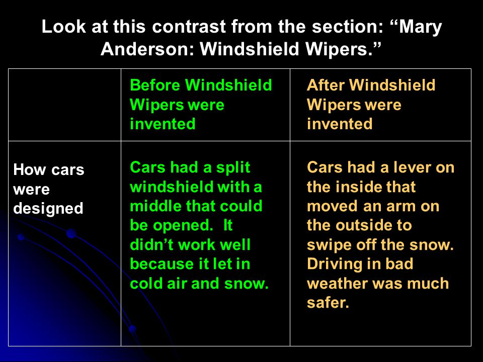 Before Windshield Wipers were invented After Windshield Wipers were invented Cars had a split windshield with a middle that could be opened. It didnt