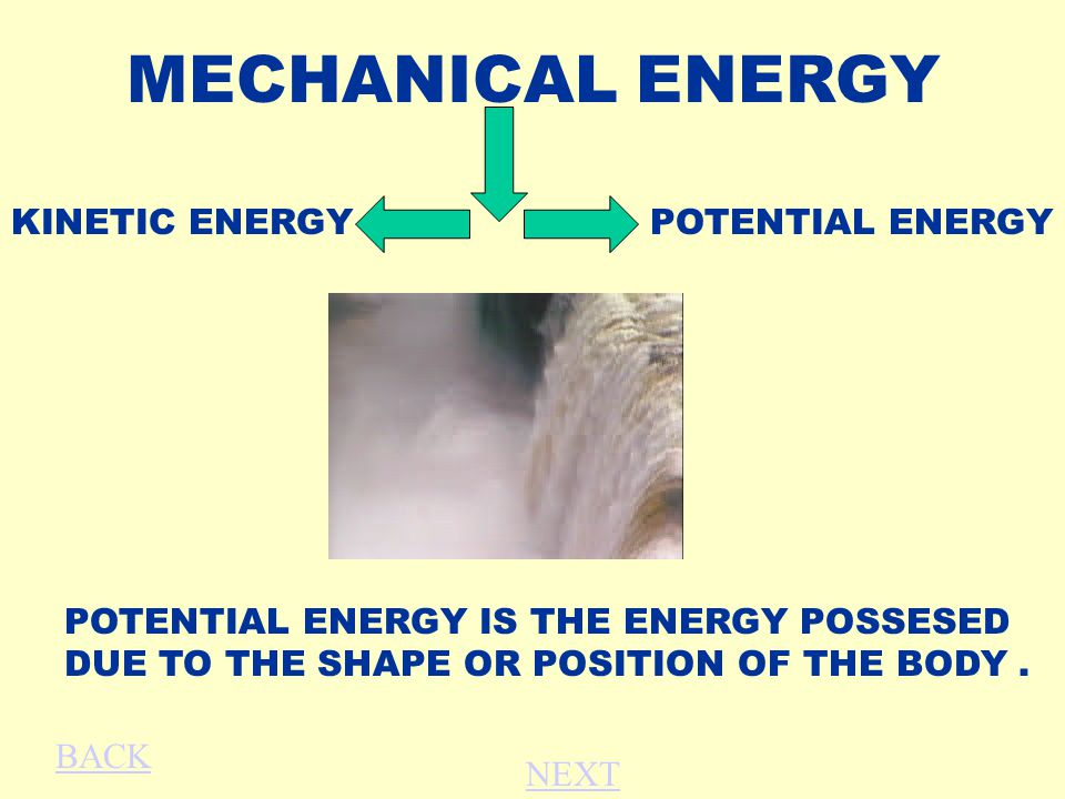 MECHANICAL ENERGY KINETIC ENERGY POTENTIAL ENERGY IS THE ENERGY POSSESED DUE TO THE SHAPE OR POSITION OF THE BODY.