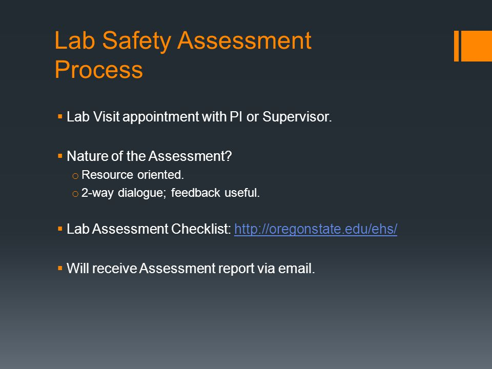 Lab Safety Assessment Process Lab Visit appointment with PI or Supervisor.