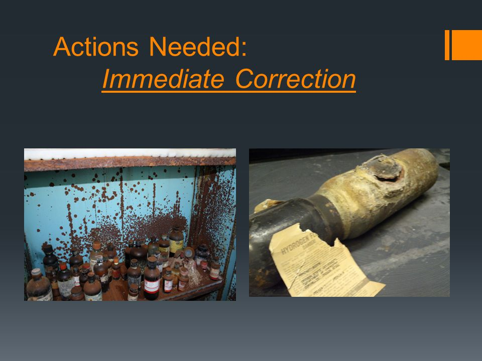 Actions Needed: Immediate Correction