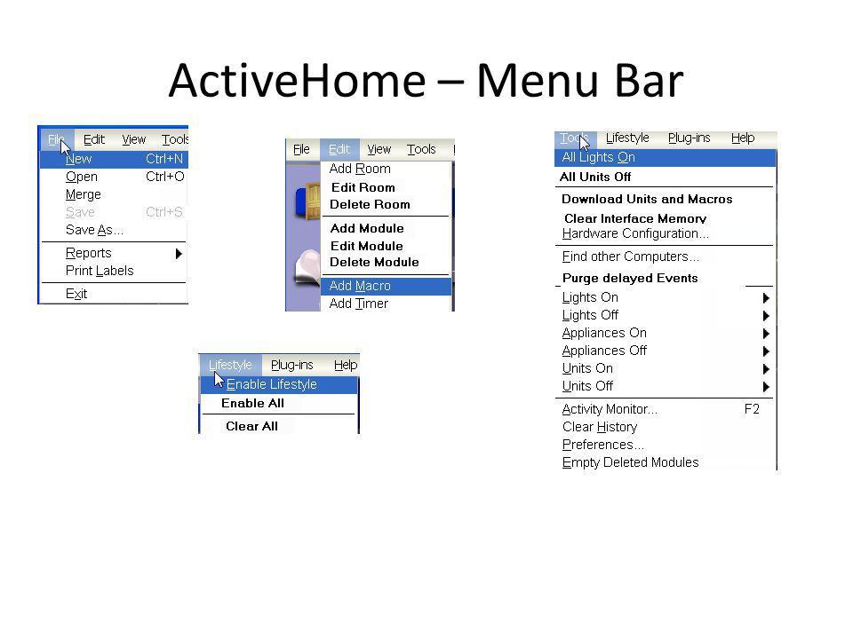 ActiveHome – Menu Bar