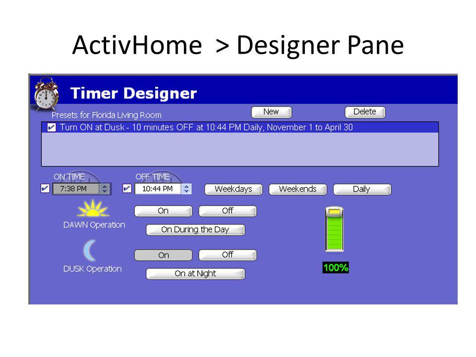 ActivHome > Designer Pane