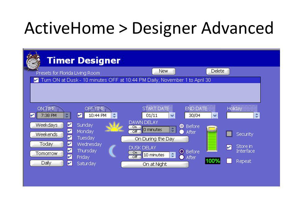 ActiveHome > Designer Advanced