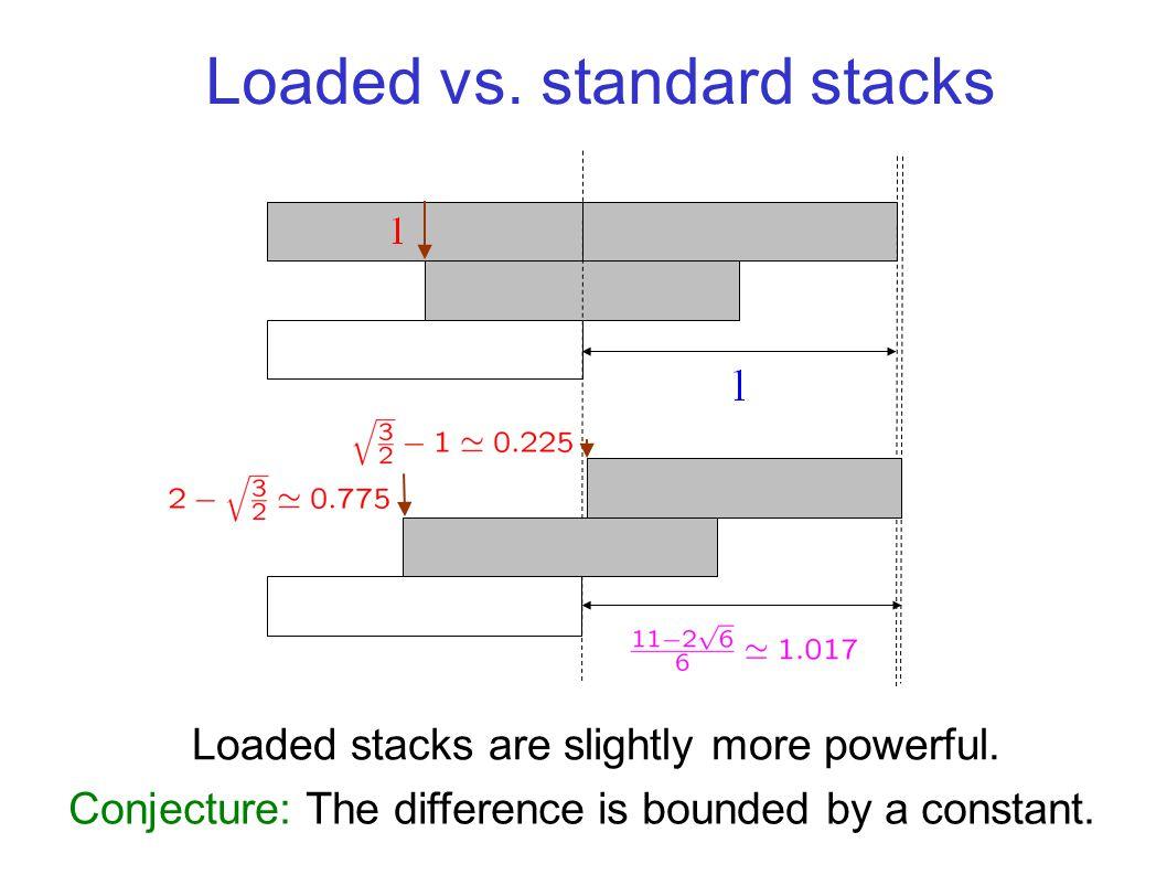 Loaded vs. standard stacks Loaded stacks are slightly more powerful.