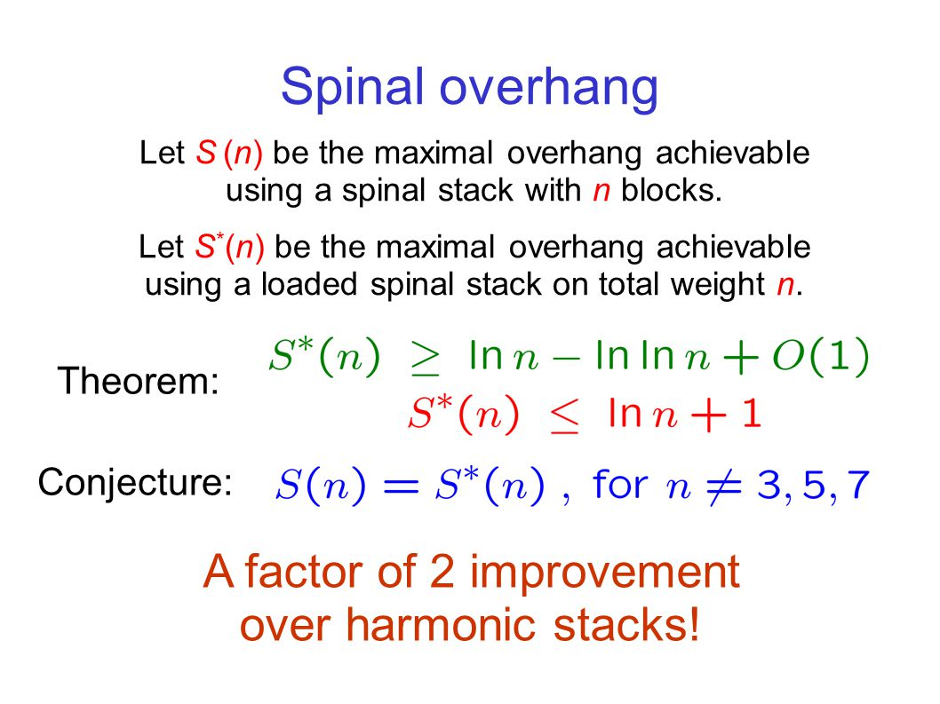 Spinal overhang Let S (n) be the maximal overhang achievable using a spinal stack with n blocks.